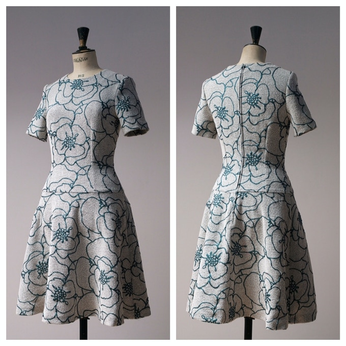 Green and Grey Floral Drop Waisted Dress
