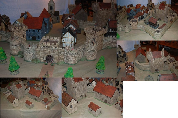 Another sample layout using items from the Large Castle pledge level.  This is a walled town scenario.