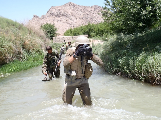 Louie on patrol with the Afghan Army and 82nd Airborne west of Kandahar City.