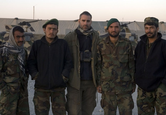 Louie with Afghan soldiers in Zhari District, Kandahar after covering combat operations in 2007.