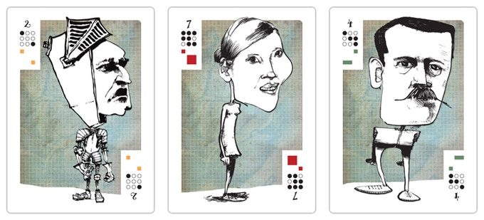 Samples of Mesa cards made from caricatures.