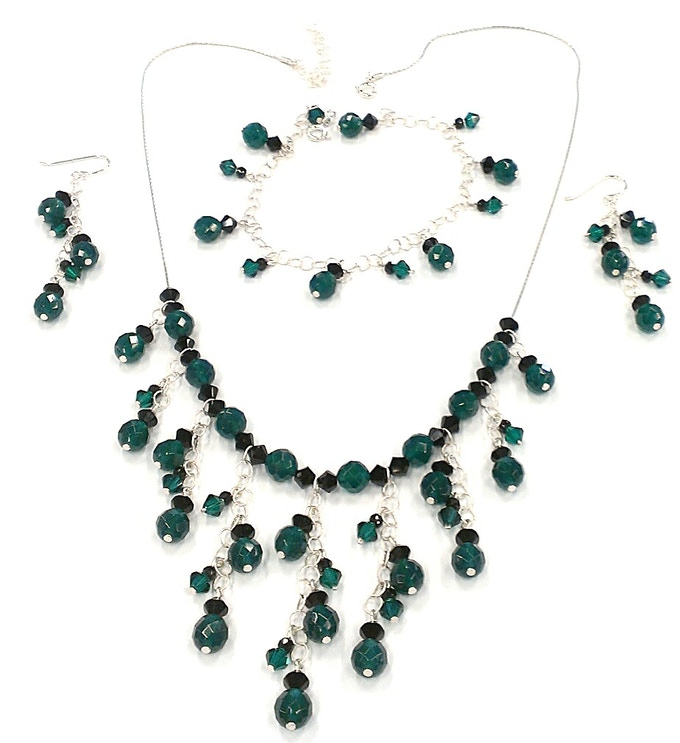 Sample Angel Investor Jewelry Set, designed for a brides maid dress (Green Onyx, Black Spinel and Crystal)