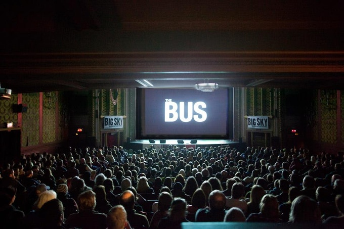 Sold out crowd for The Bus Movie world premiere at the Big Sky Documentary Film Festival.