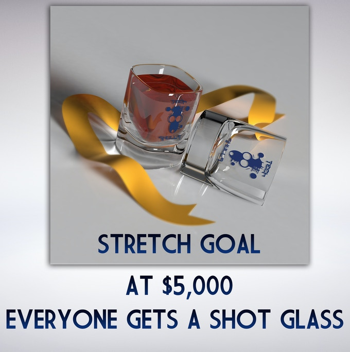 We hit $5,000 Everyone gets a shot glass