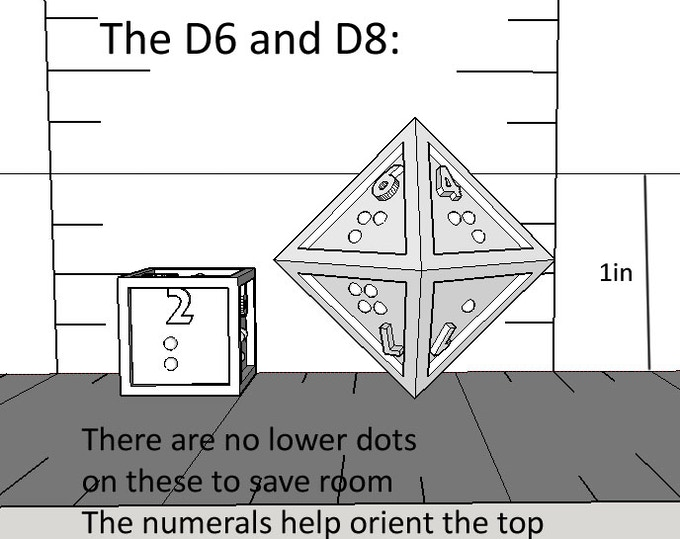 D8 and D6 (it's hard to tell, but the D6's numerals are sticking out)