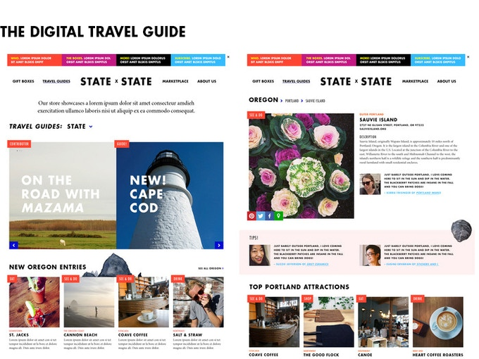 Sample screens of our digital travel guides
