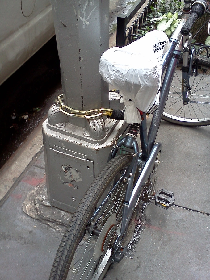 Is that a bike seat or a discarded seamless order?