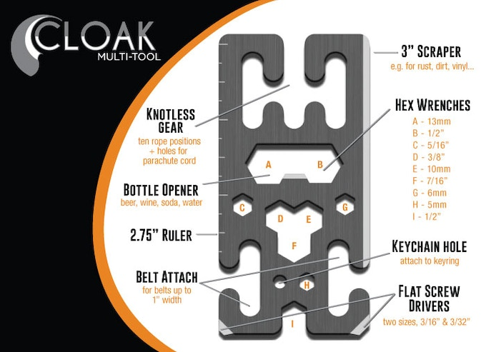 """The Cloak brings you 10+ tools in just shy of a 4"""" x 2"""" frame."""