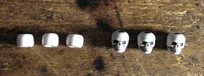 "You will have your choice between either a ""Skull"" or ""Smooth"" bead.  SKULL beads will be available in either WHITE or PINK.  SMOOTH beads will be available in; WHITE, RED, BLACK, or PINK."