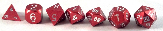 Precision Polyhedral Dice in Red Anodized Aluminum