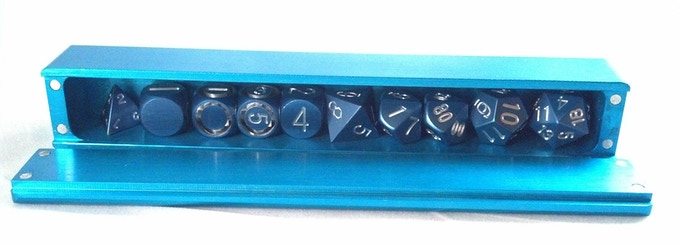 Blue 10 Dice Vault With 10 Dice With Room to Spare