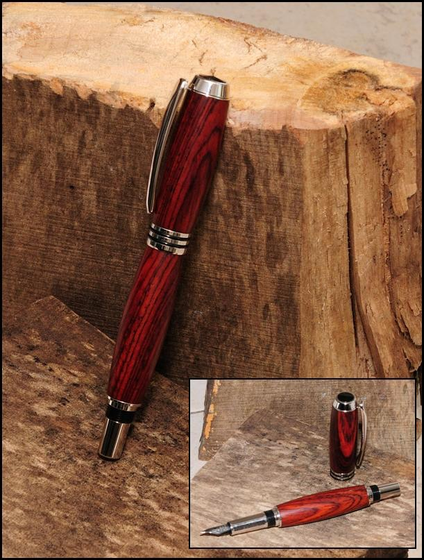 Tycoon Fountain Pen in Rhodium with Cocobolo