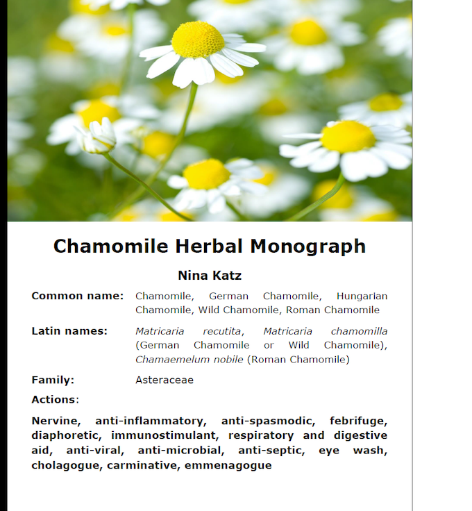 A glimpse at the first page of 5 in the Chamomile Materia Medica Article from our Chamomile Issue