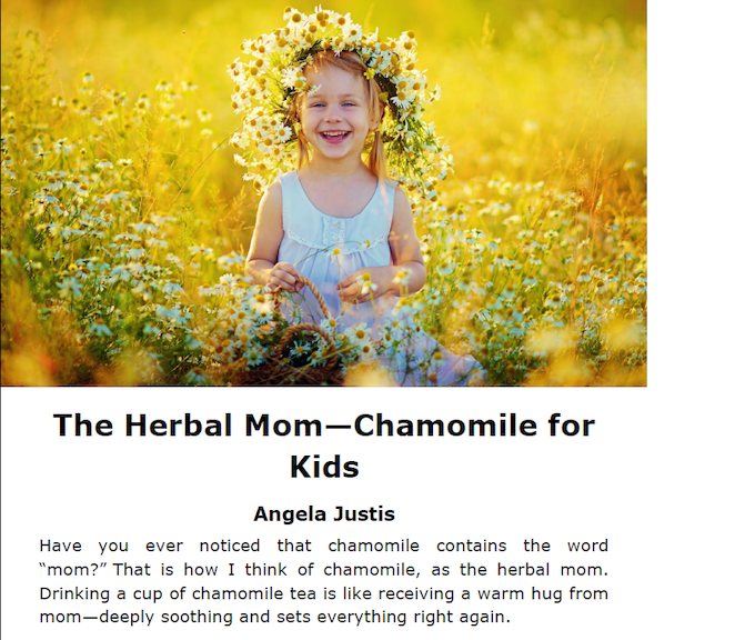 A look at the Herbal Mom article in the Chamomile issue.