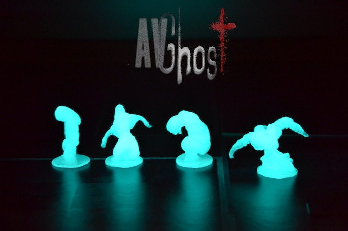Glow in the dark ghosts figures. From left to right: Witch, Crier, Twisted and Bull-Ghost. (Prototype figures)