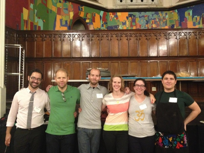 CookNSolo's quarterly volunteer day at BSM: Left to right: Eilon, Steve, Gabe, Yasmine, Amy and John