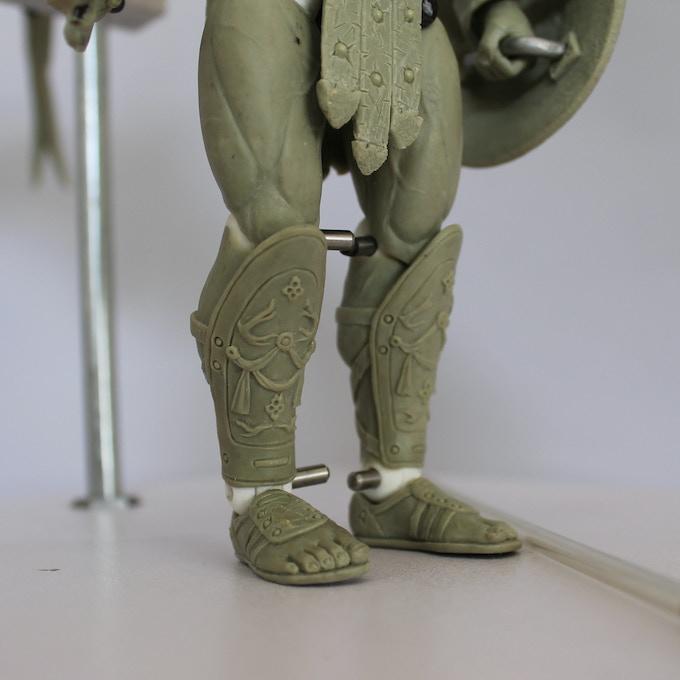 7 inch Archangel Michael action figure, shin guard details
