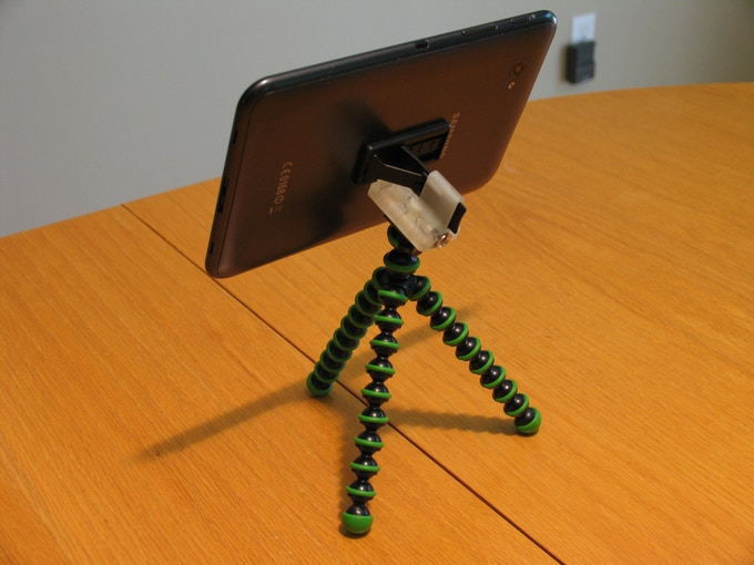 "Full view of small 7.0"" tablet using a 3D Printed Prototype of Tripod Mount mounted on a small flexible tripod stand"