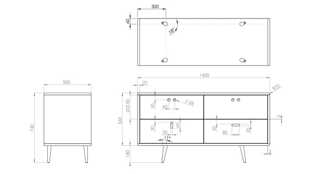 Chico's technical drawing.