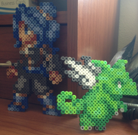 Perler® bead art of Lunais and Meyef. Colors and poses are not final.