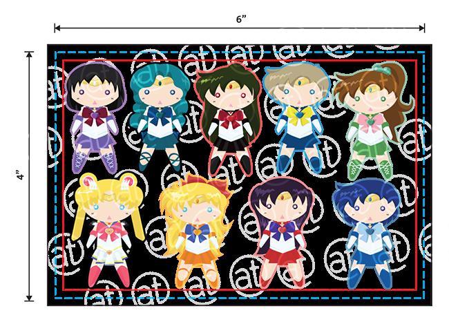 """4""""x6"""" Chibi Senshi Sticker Sheet"""