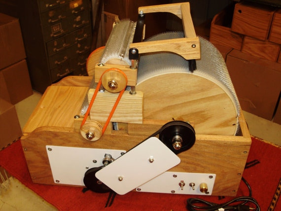 Handmade drum carder. Made by a small buisness in the USA and all parts are from the USA.