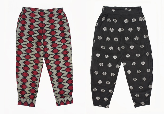 For a pledge of £120: The stylish trousers in our collection are made from the light and comfortable woven dhaka cotton fabric. Available in small, medium and large, in a range of colours. EARLY BIRD price of £100 for the first 5 supporters!