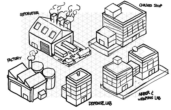 And early concept art for some buildings by Severin.