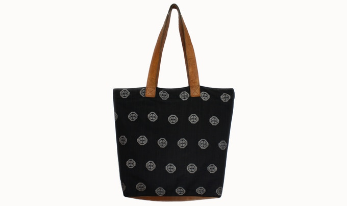 For a pledge of £60:  You'll receive a gorgeous dhaka fabric tote bag, hand made by our fair trade producers. The bag features durable straps and base made with a leather sourced locally in Nepal. Available in a range of colours.