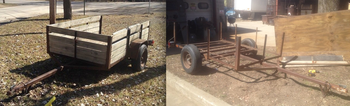 - The original donated trailer the project planned to use. Only the tung (the part that extends out and connects to the hitch) is now apart of the new trailer frame. -