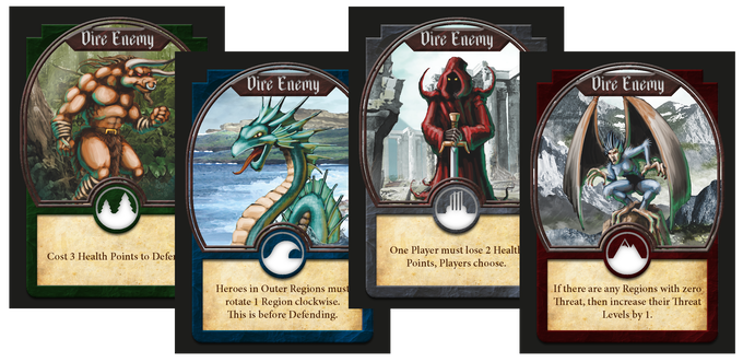 Dire Enemies bring threatening powers into play but offer great rewards to the Heroes tough enough to defend them!