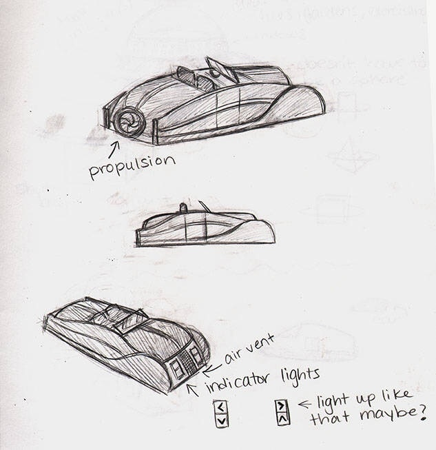 An Earth air car. Ashley designed it with a retro look in mind. The air car is involved in a fun chase in issue one.