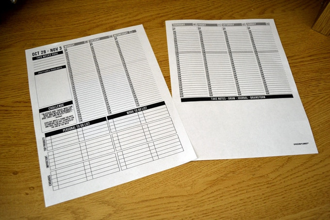 After one very very very long all nighter I finally had a printable prototype of the weekly layout! I was so happy!!!