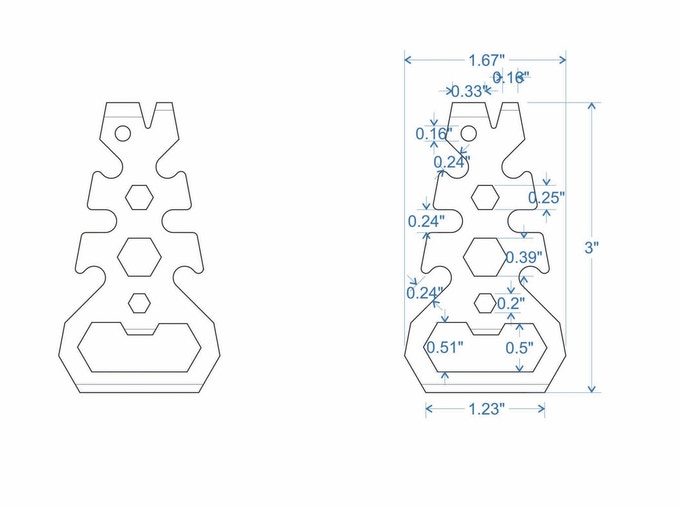 Design with dimensions prior to laser engraved mockups for our Dagger tool!