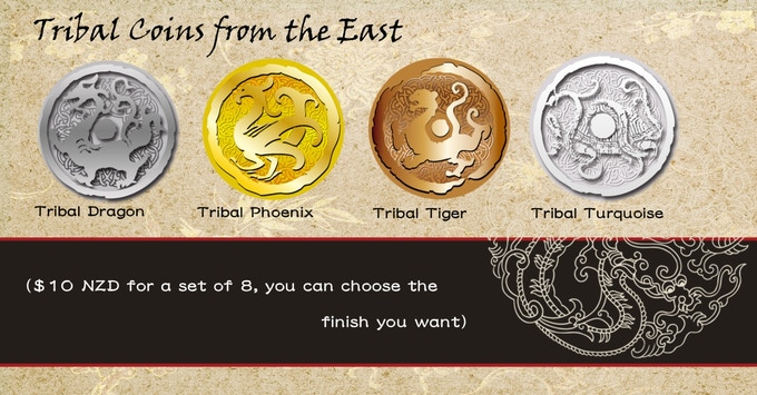 New Tribal Coins. You get 8 coins (mix and match with different finishes) of your choice. No additional shipping, Only available as Add-ons