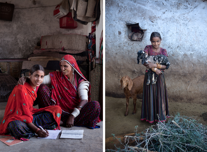 Rajasthan, India – Two young girls from a rural village. One must stay at home to look after her younger siblings and the goats, while the other is supported by her mother to attend school.