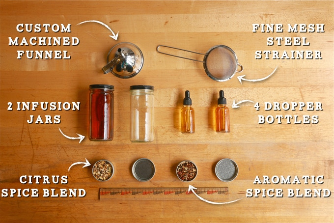 The kit includes everything you need to make bitters for yourself and loved ones.
