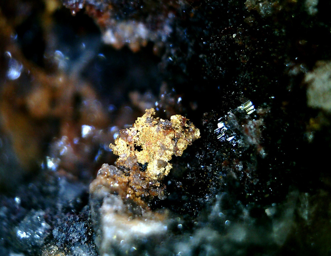Gold, Cargo Muchacho Mtns., Imperial Co., California. Is this a $100 micromount specimen or a fraction of one cent worth of gold dust?
