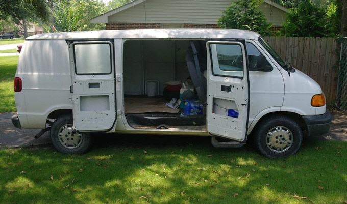 Our tired, old, faithful collecting van. This poor thing is way past retirement age.