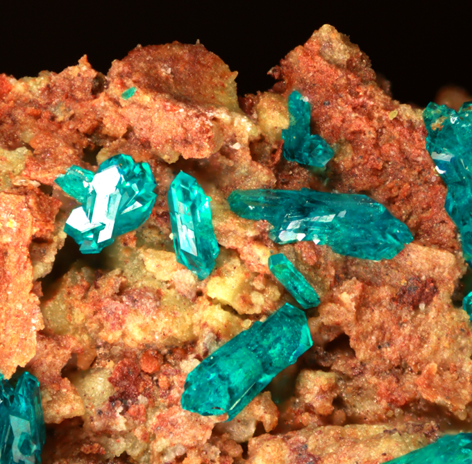 Dioptase (Limpid green crystals), Salome, Yuma County, Arizona. Absolutely limpid crystals!