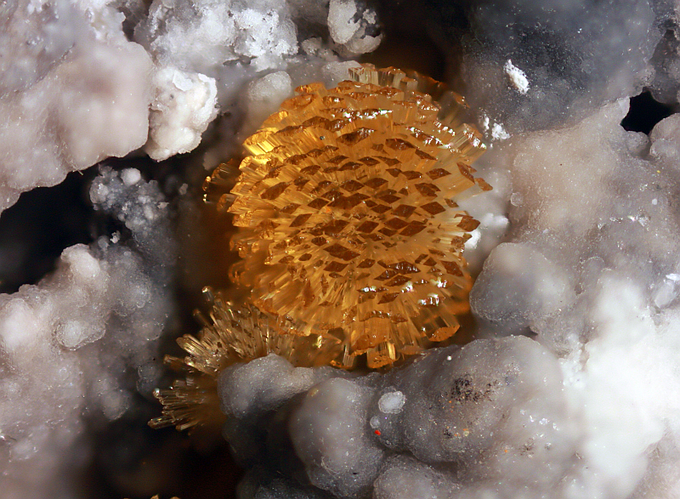 Wavellite (Pale yellow radial crystals), Clear Spring Mine, Homeland, Polk Co., Florida. Absolutely flawless specimen!