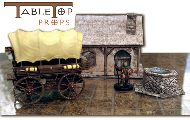 Tabletop Props is committed to providing detailed and affordable props and terrain on the miniature scale. The first piece in Tabletop Props line-up is the Covered Wagon. You will find our papercraft Rectory set in  'The Covered Wagon Reward' for free!