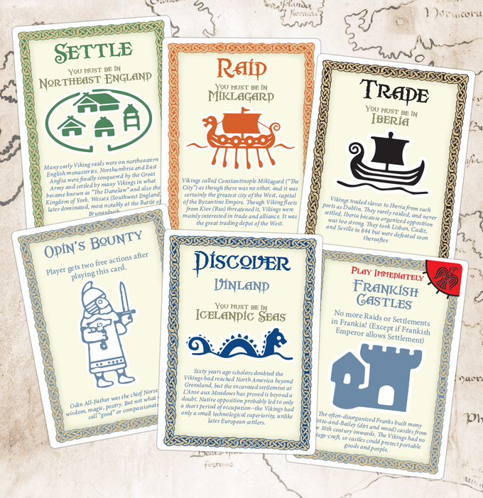 Sea King Cards are used by players for Raids, Trades, Discovery, and Settlement. Blue Raven Cards affect a single player.  Red Raven Cards affect all players.