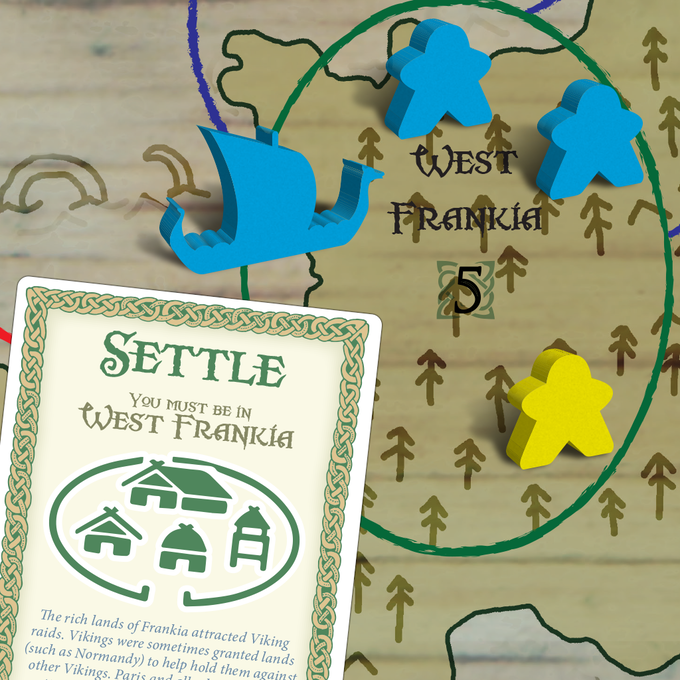 Place your meeples to stake a claim to new lands.