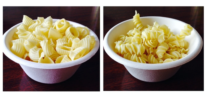 Gluten-free fresh extruded, dried pipes and screws.  1-minute cook time. Al dente finish.