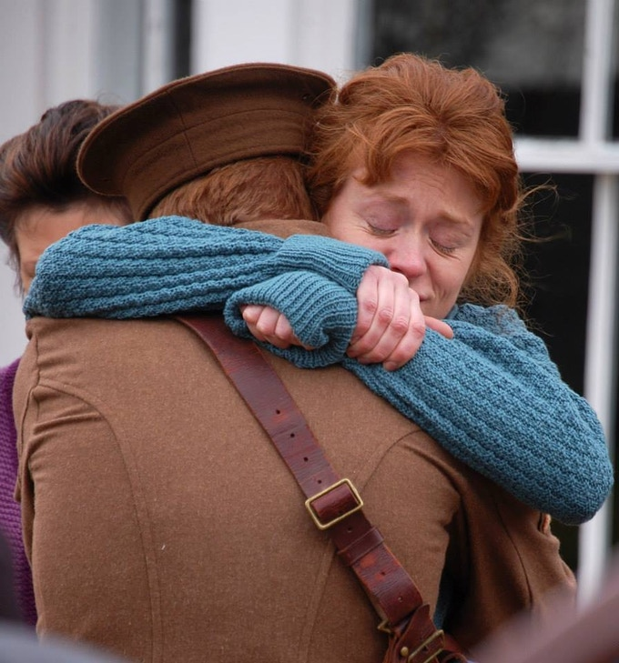 Victoria Rigby as Grace Crowder saying goodbye to her brother Will (Adam Fox).