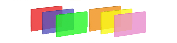 Fluorescent: Red, Blue, Green, Orange, Yellow, Pink