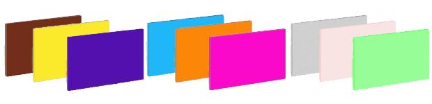 Basic colours: Brown, Yellow, Purple, Light Blue, Orange, Pink, Grey, Baby Pink, Lime Green