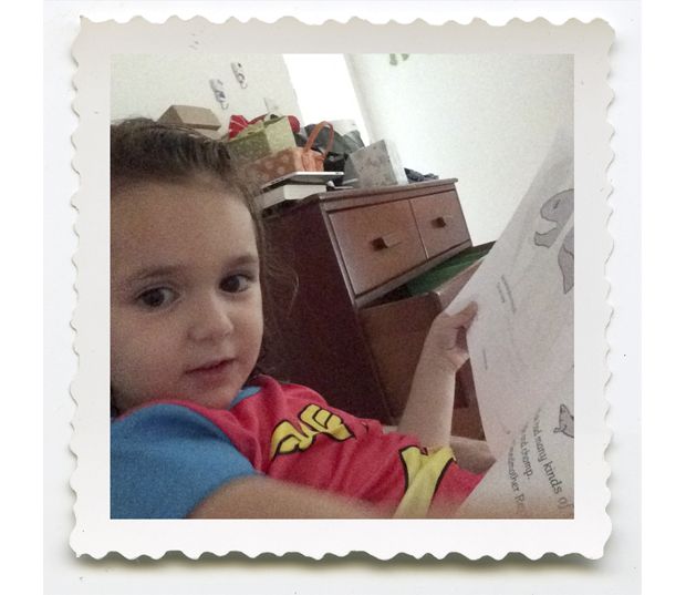 A young reader with an early draft