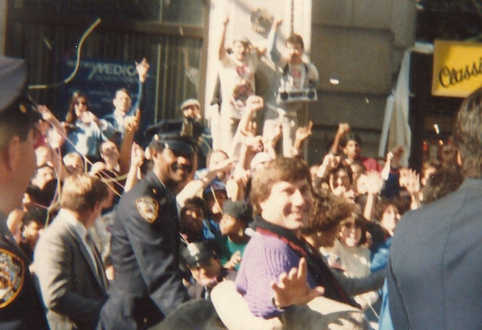 Photo the director took at the 1986 Ticker Tape Parade when she was 12